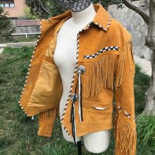 New Handmade Men's Indian-Style Leather Jacket with Fringes