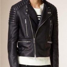 New Handmade Mens Padded Shoulders Asymmetrical Bikers Jacket