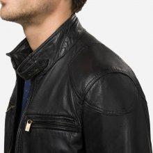New Handmade Men's Rant Black Leather Biker Jacket