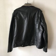 New Handmade Mens Heavy Motorcycle Short Vintage Black Genuine Smooth Leather Jacket With Metal Rivets