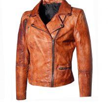 New Handmade Men's Stone washed Vintage look Fitted Biker Jacket