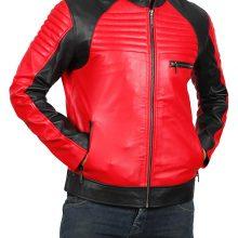New Handmade Mens Vintage Red & Black Leather Biker Jacket