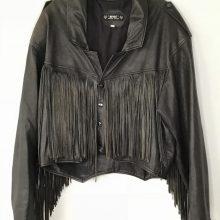 New Handmade Men's Vintage Fringe Leather Indian Applique Jacket