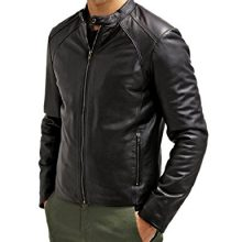 New Handmade Mens Maximus Black Genuine Lambskin Leather Biker Jacket