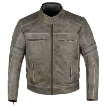 New Handmade Men's Shadow Motorcycle Biker Racing Distressed Black Cowhide Leather Jacket