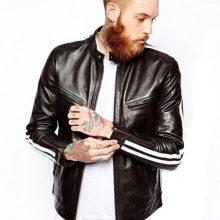 New Handmade Mens Striped Chase Leather Biker Jacket