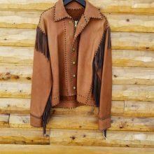 New Handmade Men's Mountain Pioneering Redwood Bison Jacket