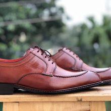 Handmade Men's Tan Colour Leather Split Toe Lace Up Dress Formal Shoes