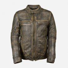 New Handmade Mens Vintage Cafe Racer Biker Distressed Brown Leather Jacket