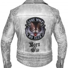 New Handmade Men Classic Biker Motorcycle Cafe Racer Lone Wolf Leather Jacket
