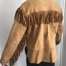 New Handmade Men's Heavy Orange Leather Authentic in the style of Indian clothing decorated with fringe Jacket