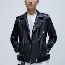 New Handmade Men Black Classic Biker Leather Jacket