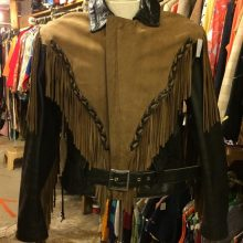 New Handmade Men's Vintage Two-Tone Black Leather and Brown Suede Fringed Leather Biker Jacket