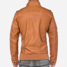 New Handmade Mens Ian Brown Leather Biker Jacket