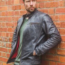 New Handmade Men's Premium Stone Grained Leather Biker Motorcycle Jacket