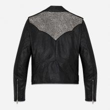New Handmade Mens Studded Black Biker Leather Jacket