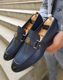 New Handmade Men's Fort Worth Navy Blue Loafer Shoes