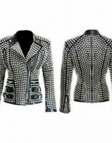 Women Punk Style Silver Studded Jacket Ladies Fashion Real Soft Lambskin Leather Jacket