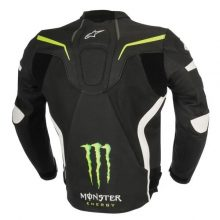 New Handmade Mens Monster Energy Motorcycle Racing Leather Jacket