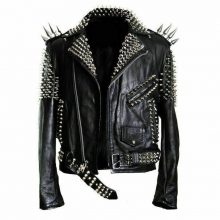 Handmade Men's Black Fashion Long Studded Punk Style Leather Jacket
