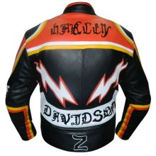 New Handmade Mens Harley Davidson and Marlboro Classic Motorcycle Leather Jacket