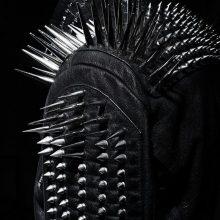 New Handmade Men's Black Fashion Long Studded Punk Style Leather Jacket