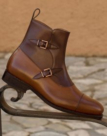 Goodyear Welt Construction - Octavian Buckle Boot using Premium High Grade Two-Tone Brown Box Calf Leather Sheos