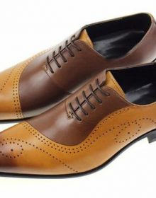 Handmade Men Classic Tan Brown Tone Lace Up Custom Dress Shoes