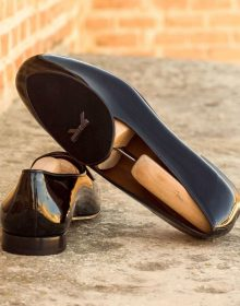 New Handmade Elegant Belgian Loafer Mix Patent Leather and Calf Suede