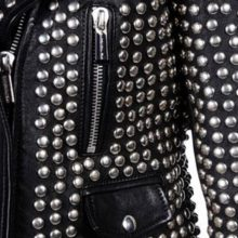 New Handmade Women Silver STUDDED PUNK Rock Studded Leather jacket