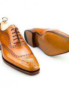 Men Handmade Awesome Tan Leather Brogue Cap Toe Lace Up Personality Shoes