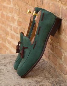 velvety Kid Suede Forrest Green Loafer with Dark Brown Trim,Tassels - Leather Sole Bottom, Blake Stitched