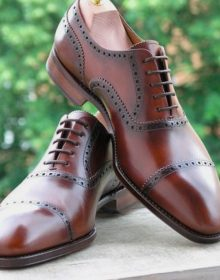 Handmade Oxford Office Brown Leather Cap Toe Formal Occasions Shoes