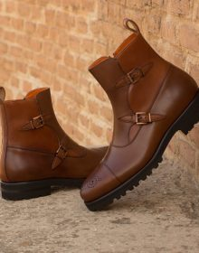 New Handmade Medium Brown and Cognac Painted Calf Octavia Monks Boot