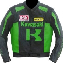 New Handmade Kawasaki Men Racing Biker Leather Jacket