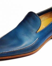 Handmade Men's Blue Color Whole Cut Leather Loafers, Slip On Dress Moccasins