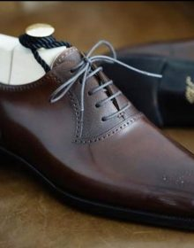 Men's Brown Oxford Whole Cut Lace Up Luxury Genuine Leather Formal Dress Shoes