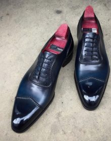 New Handmade Mens Dark Blue Oxford Whole Cut Lace Up Luxury Genuine Leather Formal Dress Shoes