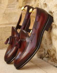 Handmade Beautiful Oxblood Hand Painted Patina Tassels Loafer for men