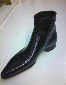 New Handmade Black Calf Leather Brogue Derby Ankle Boots