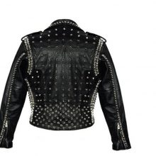 New Handmade Men Black Full Silver Studded Brando Biker Cowhide Leather Jacket
