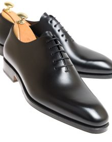 Handmade Men's Black Whole-cut oxford shoes in cowhide leather