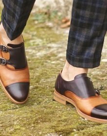 Handmade Oxblood/Cognac Hand Painted Full Grain Calf on a pair of exclusive Double Monks Design for Men