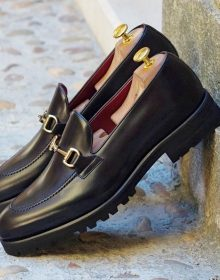New Handmade combat xtralight rubber sole on a hand painted calf black colour Loafer for Men
