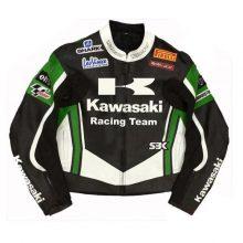 New Handmade Kawasaki Racing Team Leather Motorcycle Jacket