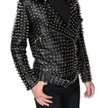 Men's Genuine Cowhide Leather Black Biker Full Silver Studded Handmade Jacket