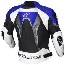 New Handmade Alpinestars Blue Croes Celer Leather Motorcycle Jacket