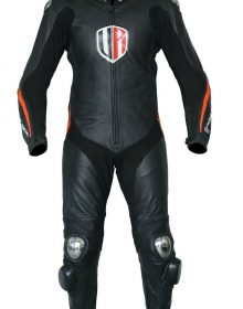 Unique Racing Black FLO/Red Motorcycle Motorbike Leather one Piece Suit CE Armor