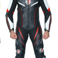 Unique Racing Motorcycle Motorbike Leather one Piece Suit CE Armors Red Piping