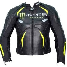 New Handmade Mens Monster Energy Motorbike Racing Leather Jacket